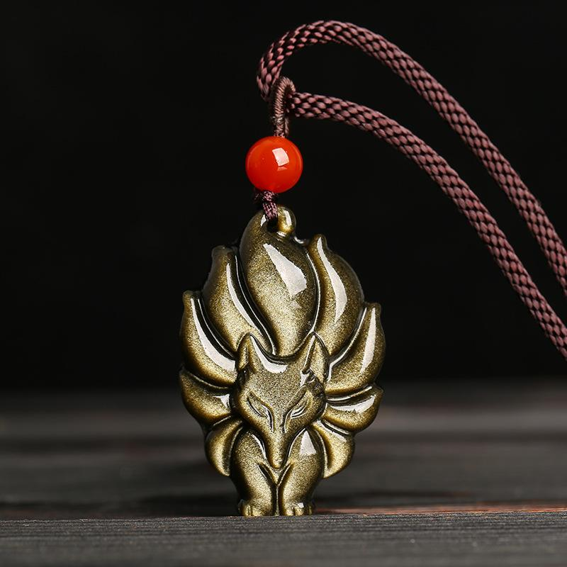 Natural Jade Gold Obsidian Nine-tailed Fox Pendant Charm Jewellery Fashion Accessories Hand-Carved Man Woman Amulet Luck Gifts