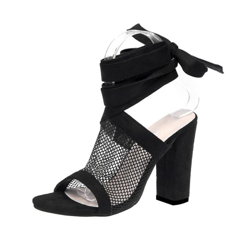 Dress Women Ladies Tie Lace Up Sandals Ankle Mesh High Heels Block Party  Shoes High Heels Woman Of 2019 Latest Models Sandalsa0503 30 White Shoes  Wholesale ... 9d4b4d273