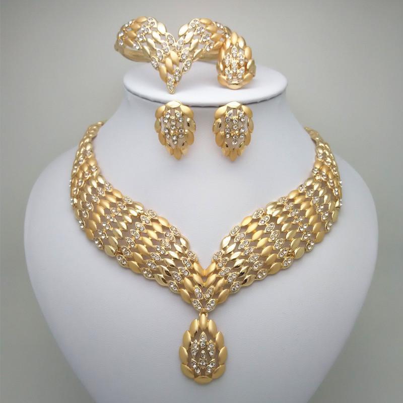 0c1bcf394767 Compre Etiopía Conjunto Redondo De Color Oro Collares Aretes Brazalete  Anillo Habesha Joyería Boda Eritrea C19041501 A  18.97 Del Xiao0003
