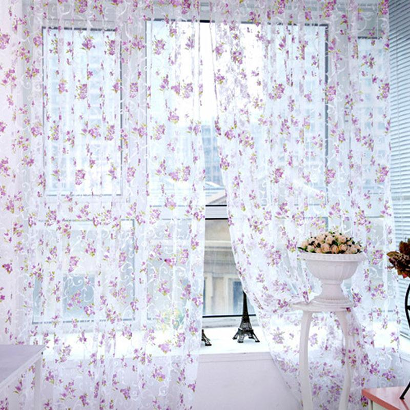 Trendy Floral Schals Sheer Voile Türfenstervorhänge Vorhänge Panel Volants Multi-Colors