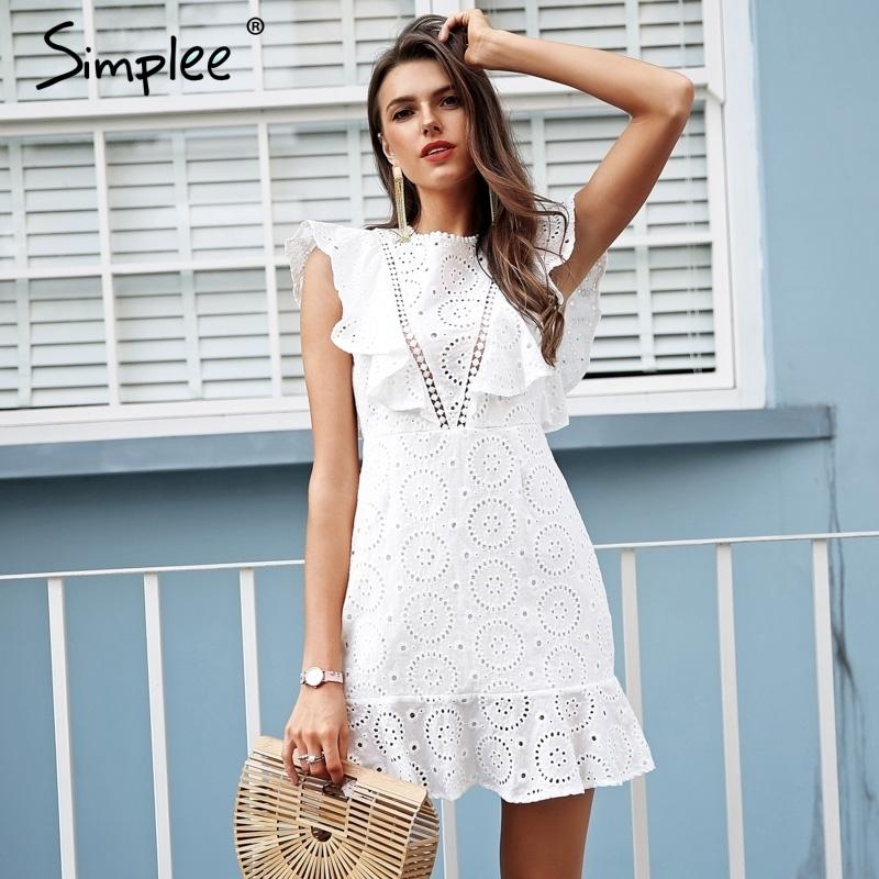 sale retailer 6db19 6092e Simplee ricamo abito bianco in cotone da donna manica corta a vita alta  vestito corto 2018 keyhole posteriore vestito casuale femminile vestidos ...