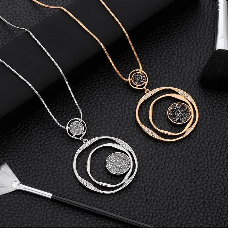Black Crystal Pendant Necklace For Women Luxury pretty Accessories Gifts Big Circle Round Pendant Necklace Long Gold Sweater Chain Necklace