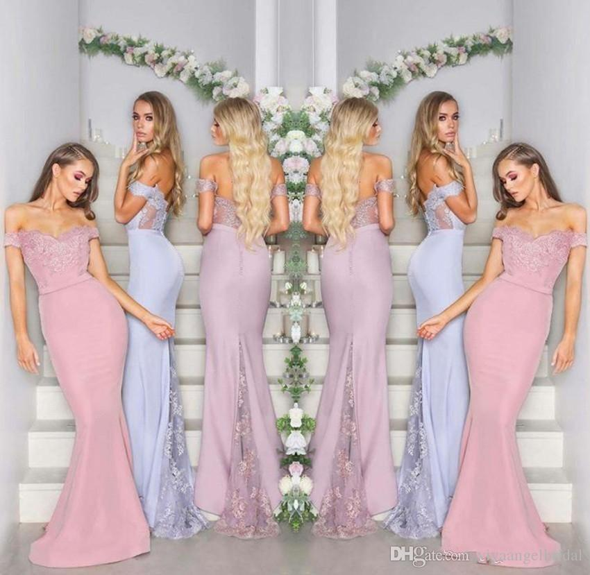 Cheap Long Country 2019 Bridesmaid Dresses Mermaid Off Shoulder Lace  Appliques Backless Illusion Arabic Prom Evening Wedding Guest Gowns Cheap  Pink ... e387c8d62499