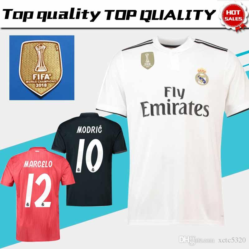 ea8b0ad52 2019 New 2018 Club World Champion Real Madrid Home White Soccer Jersey 18 19   10 MODRIC  11 BALE 3rd Red Soccer Shirt Away Black Football Uniform From  ...