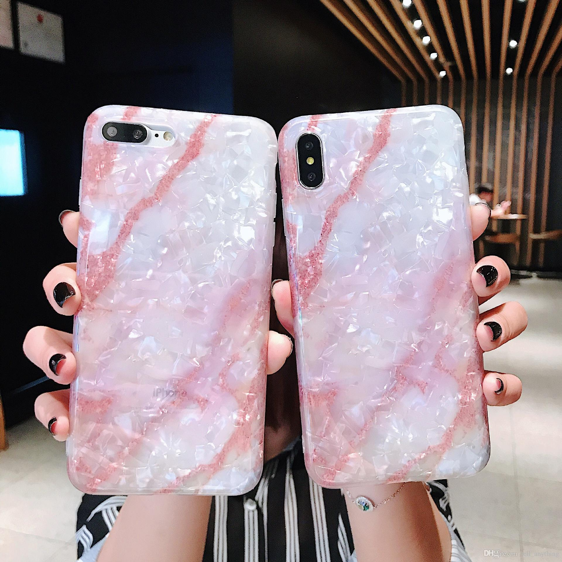 For Iphone Xr Xs Max Phone Case marble Shell pattern 6 7 8 X Plus Cover edge Silicone Soft IMD Cell Phone Case
