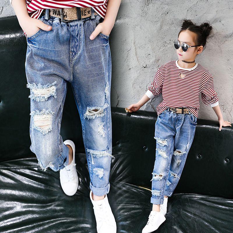 b78bd5b72f Compre Pantalones Vaqueros Para Niños Use Pantalones Vaqueros Flacos Niña  De Invierno Otoño Largo Pantalón Roto Botón Volar Moda Pantalones Vaqueros  ...