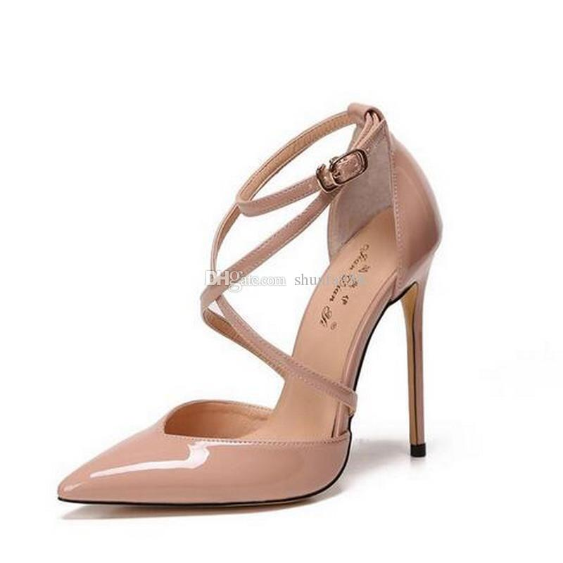 70fa1a4c2dd Free shipping Fashion women Classic Black nude red patent point toe wedding  shoes high heels thin heeled shoes pumps genuine leather 120mm