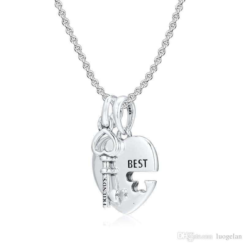 2019 Original 925 Sterling Silber Schmuck Beste Freunde Herz und Schlüssel Anhänger Baumeln Perlen Für Pandora charme Armbänder Halskette für Frauen