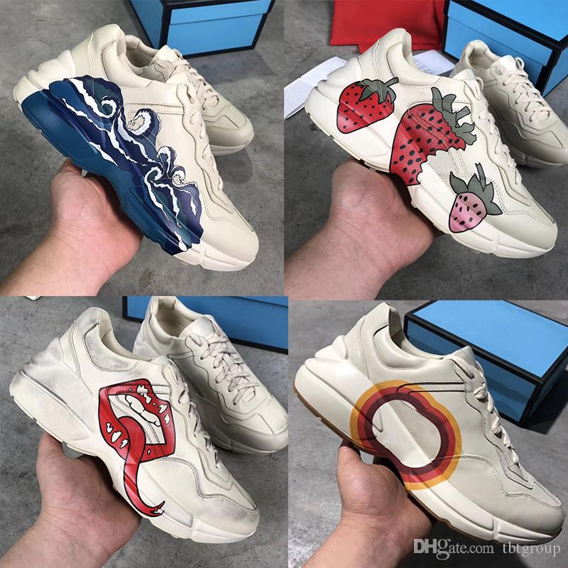 a39aaae546 Newest Rhyton leather sneaker mens designer shoes with Strawberry wave  mouth Tiger Web print Luxury Vintage Trainer women Designer Shoes