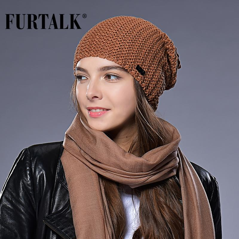 aa9ad777896509 FURTALK Woman Knitted Beanie Hat Caps Autumn Winter Wool Hats For Women  Slouchy Hat Female Fashion Girls Hats S18120302 Crazy Hats Mens Beanies  From Datai, ...