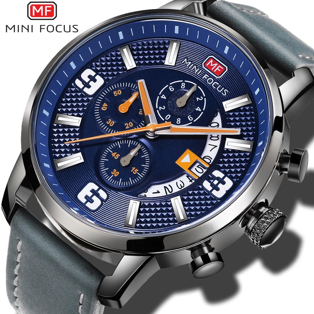 e3de43cb573 Compre Mini Focus Quartz Whatch Esporte Data Auto Relógio Cronógrafo Para  Homens Azul Dial Cinza Pulseira De Couro Moda Esportes Relógios Relógio De  Pulso ...