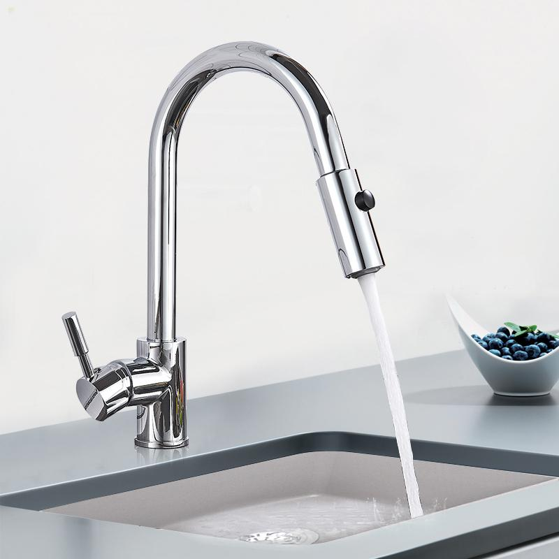 Chrome Polish Kitchen Sink Faucet Spray Stream Rain Switch Spout Pull Down  Kitchen Mixers Deck Mounted Hot and Cold Water Tap