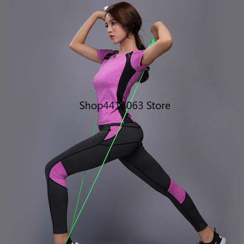 59c5fb5649b5 Mujeres Yoga Set Gimnasio Ropa de Fitness Top Camisa de Cintura Alta  Pantalones de Yoga Correr Ropa Deportiva Chica Slim Leggings Entrenamiento  ...
