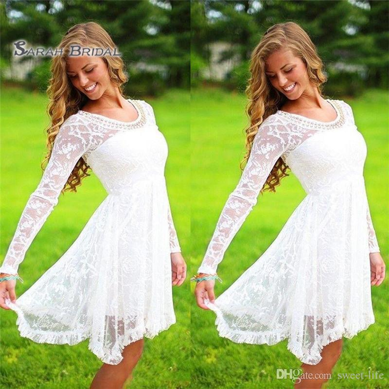 White Beaded Lace Homecoming Dresses A Line Scoop Long Sleeves Short Prom Pary Dresses Formal Evening Gown