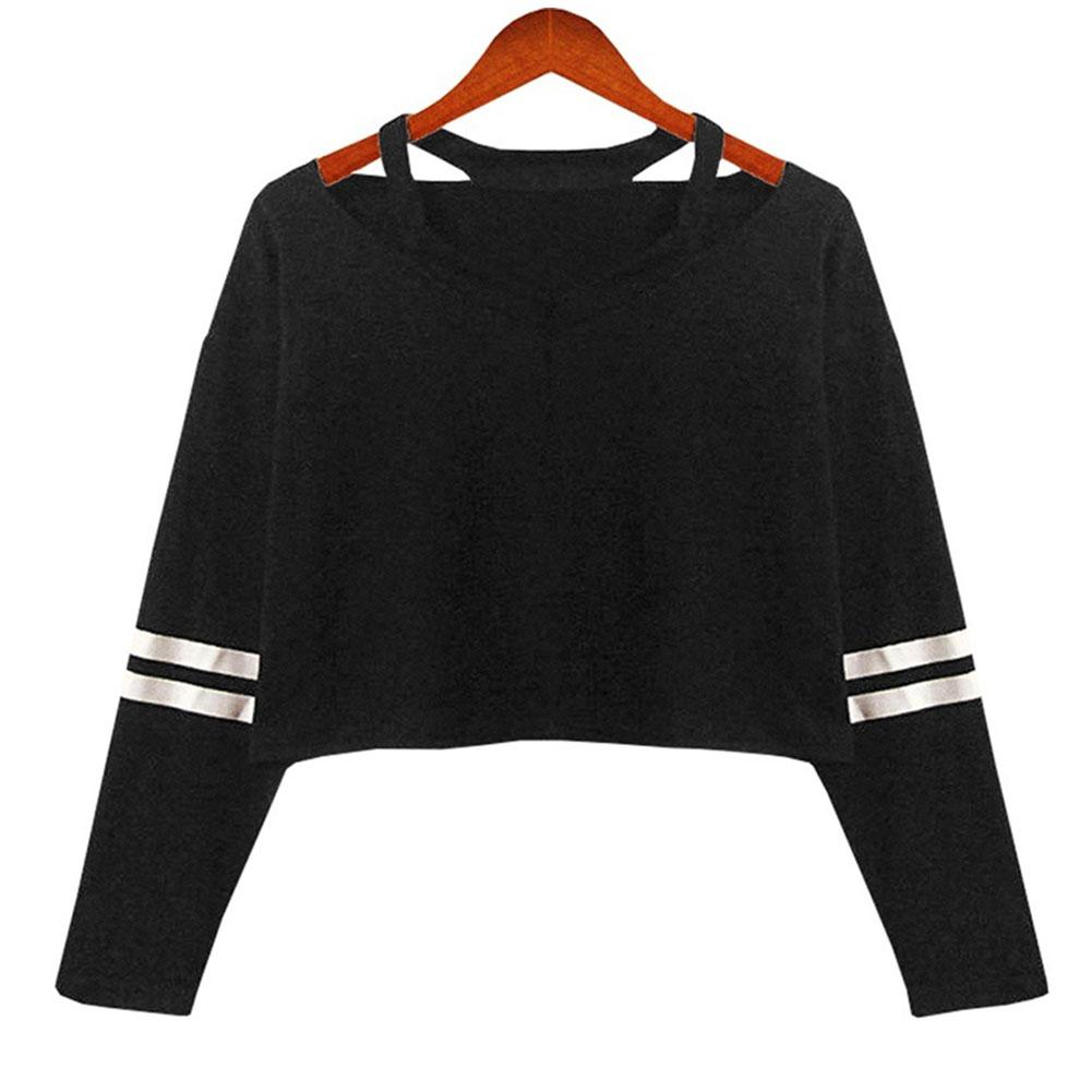 41b3b7c461 Casual Punk Long Sleeve Hoodie Wide Straps Fabala V Neck Striped T Shirt  Pullover Midriff Baring Funny T Shirts Online Hilarious T Shirts From  Layette66, ...