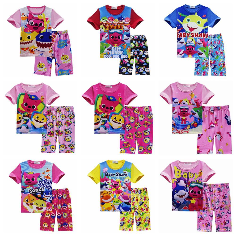 97abdd4b2 2019 9styles Girls Baby Shark Pajamas Set Lovely Cartoon Shark Short Sleeve  Pajamas Suits Baby Summer Skirt Pants Clothes Outfits FFA1646 From ...