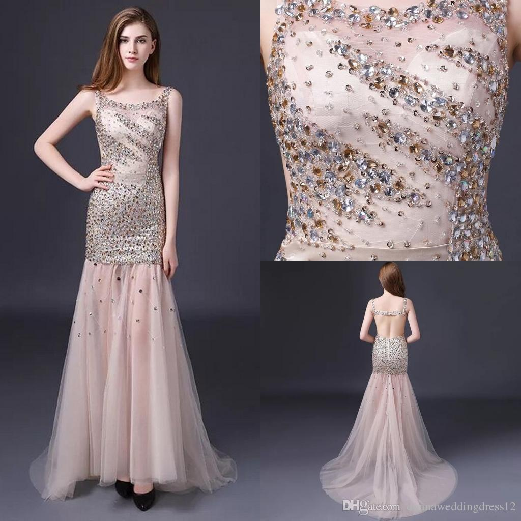 Robe De Soriee 2018 Sexy Luxury Crystal Beading Long Evening Dress Elegant  Mermaid Backless Formal Party Dress Prom Gowns Customed Vestidos Evening  Dresses ... d59bb762db2f