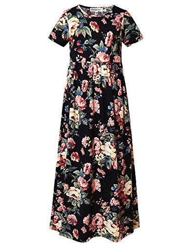 419cfe585d Perfashion Girls Summer Floral Print Short Sleeve Flared Maxi Dress ...