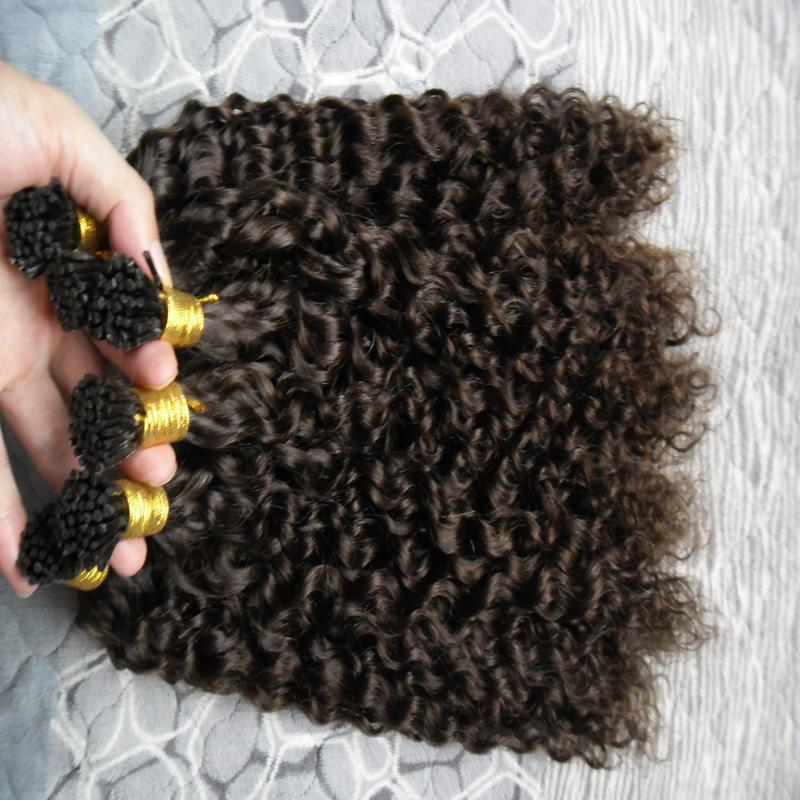 "300S mongolian afro kinky curly Double Drawn Remy I Tip Human Hair Extensions 16"" 20"" 24""1g/s Keratin Hair Extension I-tip Human Hair"