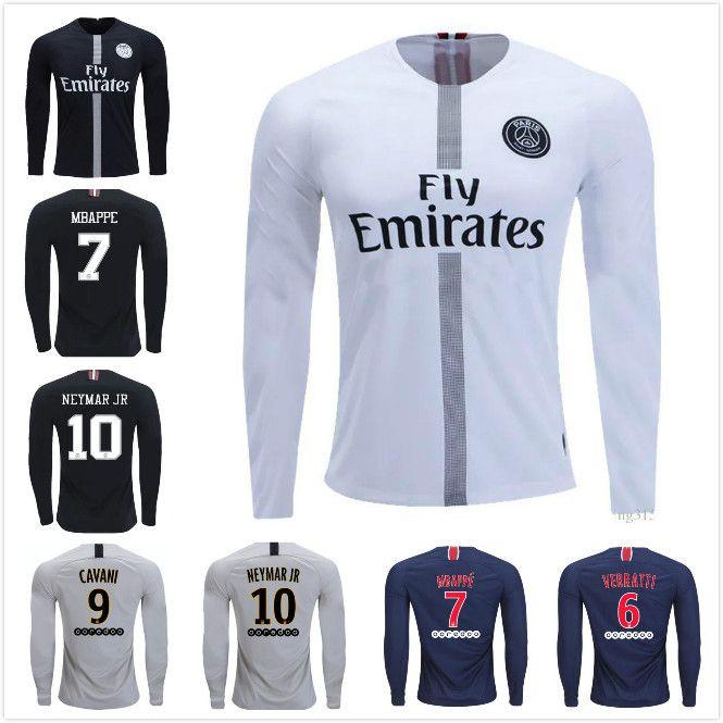 promo code a20d5 1ec08 PSG Long sleeve Home Black Soccer Jersey 2019 Paris Saint-Germain Third  Away White #7 MBAPPE Soccer Shirt With Champion league Patch