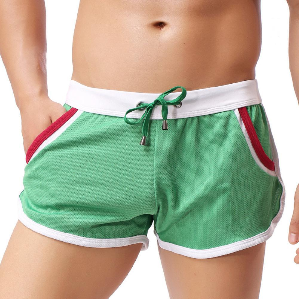 Men Color Block Summer Sport Quick Dry Drawstring Shorts Beach Swimming Trunks fashion
