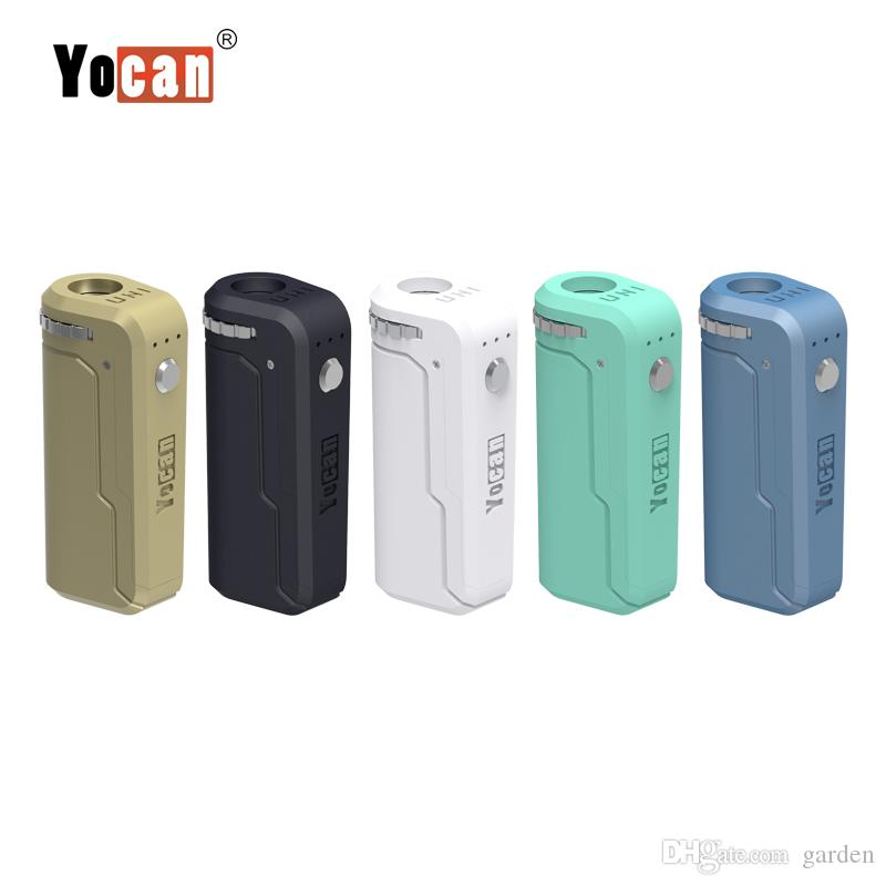 Original Yocan UNI Box Mod 650mAh Preheat VV Battery For 510 Thick Oil Vape Preheating Cartridge Ecig Mods 100% Authentic
