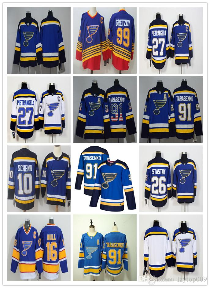 buy popular 7b111 4f867 cheap St. Louis Blues 91 Vladimir Tarasenko Hockey Jerseys 27 Alex  Pietrangelo 10 Brayden Schenn 20 Steen 26 Paul Stastny 99 Wayne Gretzky