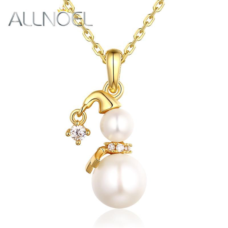 ALLNOEL 925 Sterling Silver Necklace for Women Handmade Pearl White Zircon Snowman Pendant Real Gold Engagement Fine Jewelry