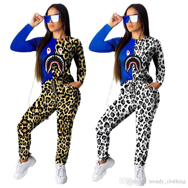 Women Designer Outfits Hoodies+Leggings Two Piece Sets Tracksuits Panelled Leopard Print Shark's mouth Slim Fashion Pants Fall Selling 1321