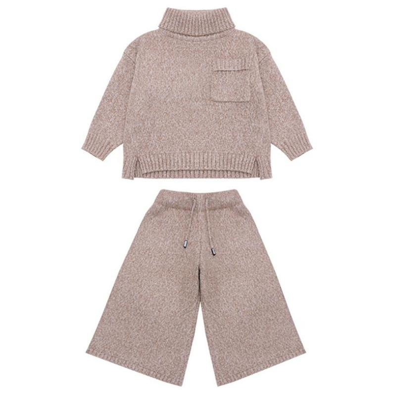 DFXD Teen Girls Fall Clothes Set Fashion Turtleneck Pullover Sweater+Loose Knitted Pant 3-12Yrs Girls Clothing Sets Kids Clothes