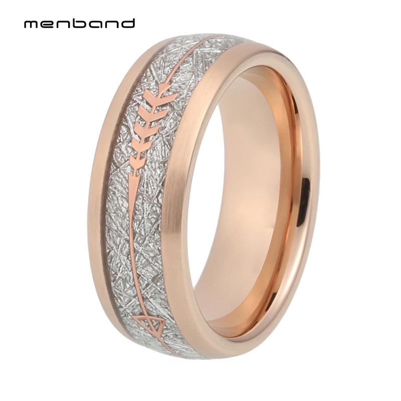 Rose Gold Ring Mens Womens Wedding Bands Tungsten Carbide Engagement Rings  Comfort Fit Meteorite And Arrow Inlay Brushed Finish UK 2019 From Naughtie 59f6729a61