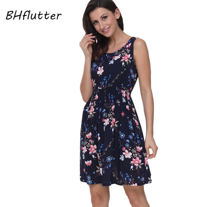 19c6daf4337 BHflutter 2018 Women Summer Dress Floral Print Sleeveless Casual Dress Tank  Dress Cotton Short Retro Vintage Dresses Vestidos Short Dress Formal Gowns  From ...