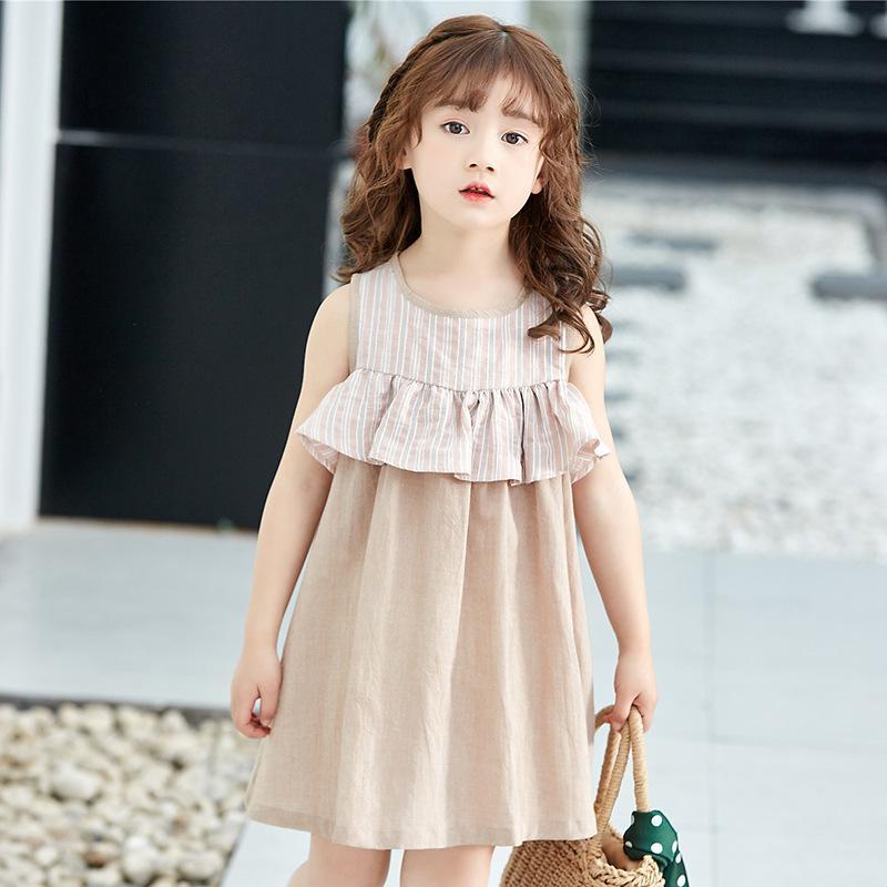 3508b300a27b 2019 A Line Beach Children'S Dress Cute Cotton And Linen Striped Solid  Color Sleeveless Contrast Color Princess Dress Girls Falbala Skirt From  Starryocean, ...