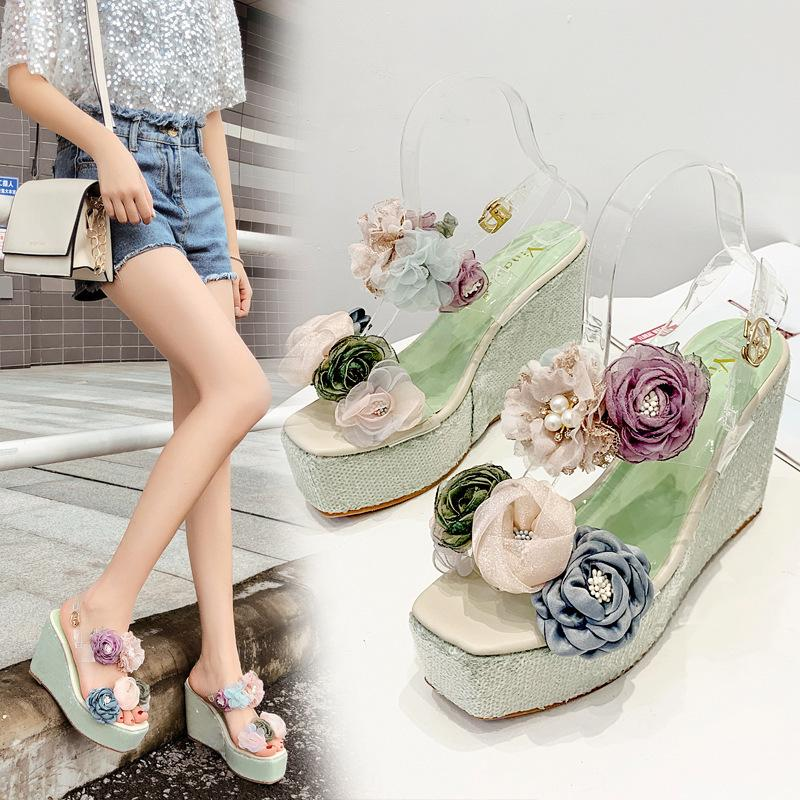 Alluring2019 Slope Flange Woman Other Clothes Flower Spelling Color Ramp High With Sandals 778-50