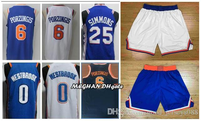 size 40 f4d80 7e180 2018 newest New York Jerseys Knicks Shorts 6 Kristaps Porzingis 100%  Stitched Basketball Jerseys White and Blue Free Shipping
