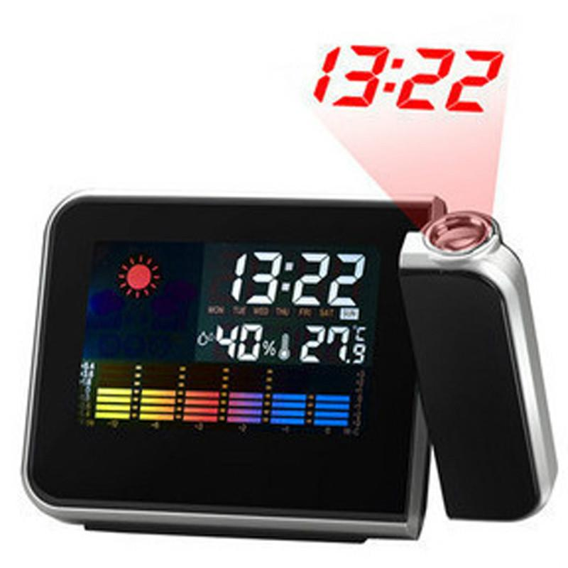 Time Watch Projector Multi Function Digital Alarm Clocks Color Screen Desktop Clock Display Weather Calendar Time Projector with fast ship
