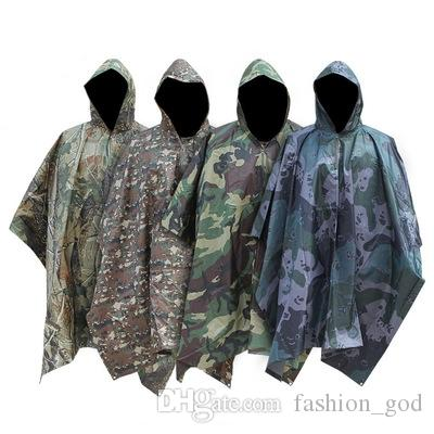 9f7637ffae4e4 2019 Camping Rain Cape Camouflage Hooded Raincoat Hiking Hunting Rain Coat  Cloak Sun Shelter Ground Picnic Mat Multi Function Outwear YFA923 From ...
