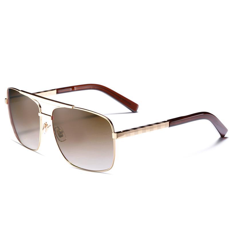 6fde395e1305a Homens de luxo marca designer óculos de sol atitude óculos de sol quadrado  logotipo na lente dos homens marca designer óculos de sol brilhante Preto  ouro ...