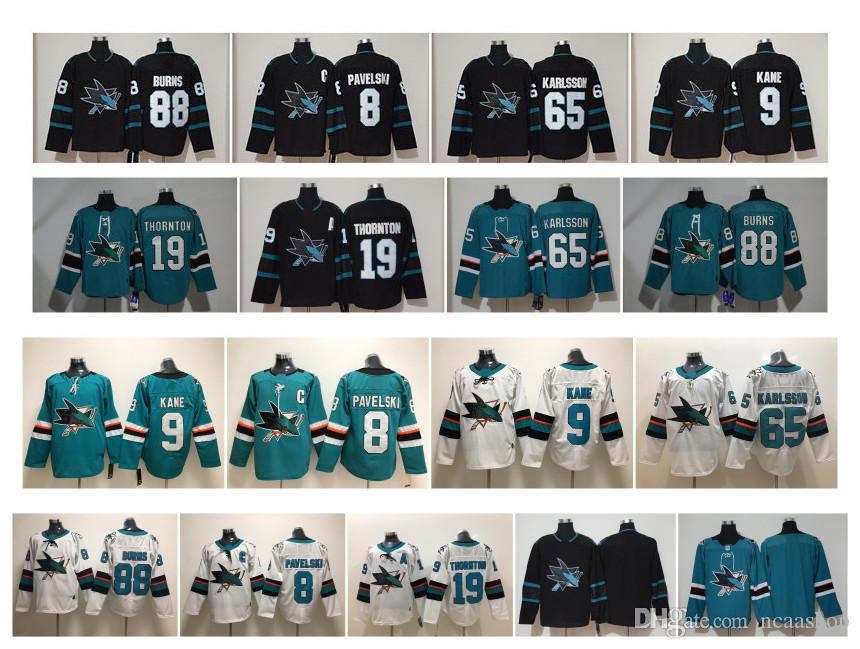 2019 NHL San Jose Sharks Jersey 65 Erik Karlsson Jersey 9 Evander Kane 19  Joe Thornton 8 Joe Pavelski 88 Brent Burns Black Green Stitched Hockey From  ... cf2856750