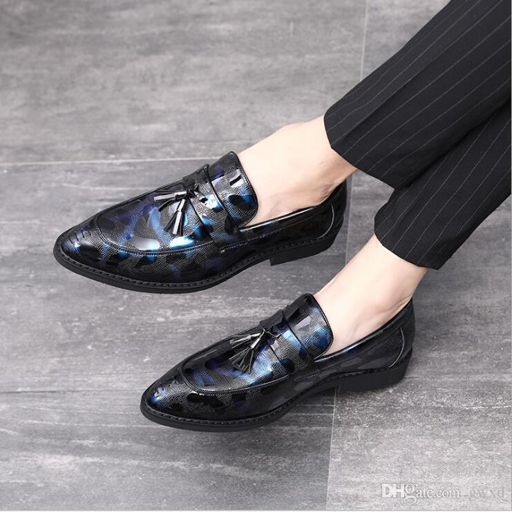 Pointed Toe Formal Loafers Luxury Design Man Leather Oxfords Spring Men Italy Dress Shoes Tassel Business Wedding Shoes W78