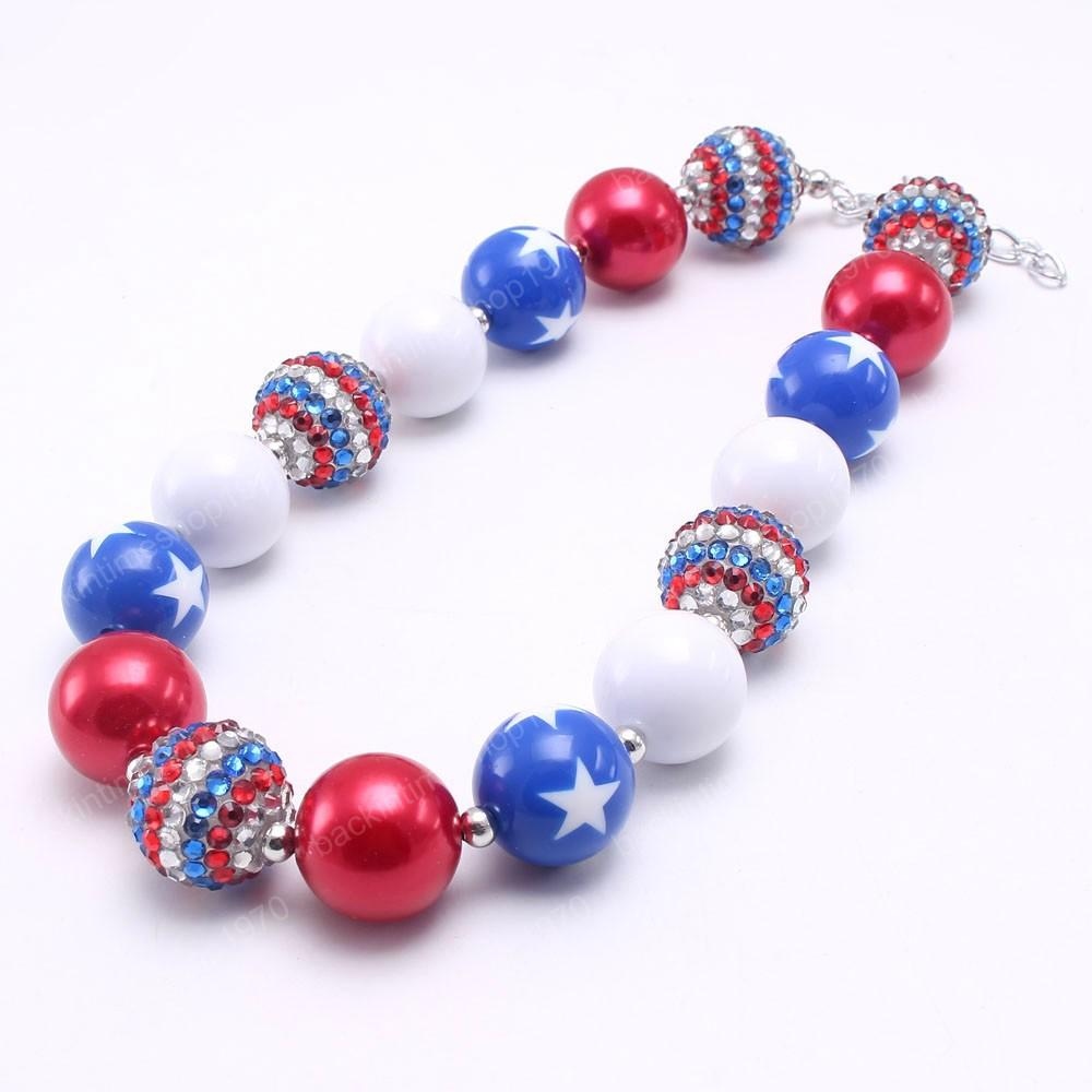 Cute Forth July Kids Girls Chunky Beads Necklace Baby Child Beads Necklace Chunky Jewelry For Festival Party Gift