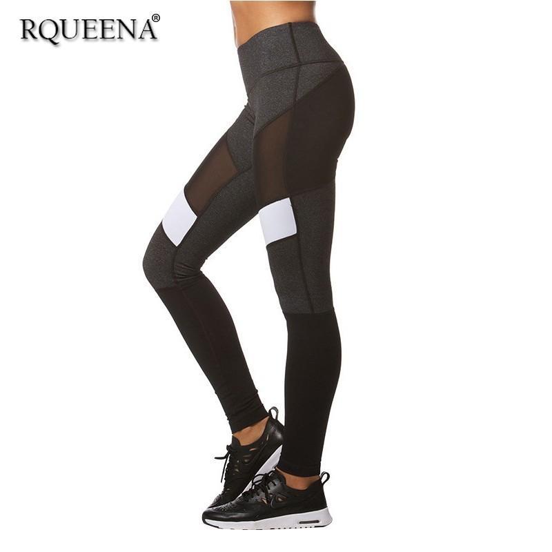 8cc092cfdd Compre Rqueena Primavera Verano Polainas De Las Mujeres Negro Mujer Sexy  Pantalones De Yoga Remiendo De Malla Legging Para Mujeres Con Cintura Alta  Le005 A ...