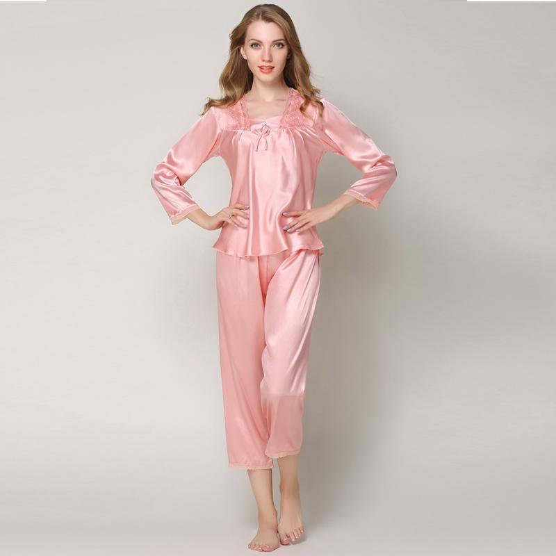 2019 Sweet Pajamas Sets Female Silk Satin Sleepwear Suit Pyjamas Women Home  Sleep Wear Tops Pants Plus Size Pijama Mujer From Lantor 3a5cb95ba