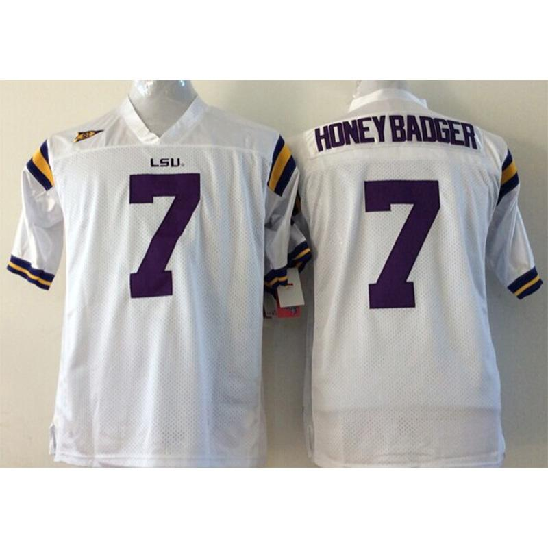 competitive price be064 f6797 Mens LSU Tigers HONEY BADGER TYRANN MATHIEU Stitched Name&Number American  College Football Jersey Size S-3XL