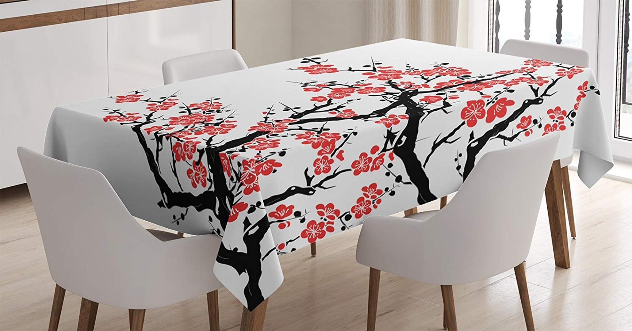 Asian Decor Tablecloth Plum Tree Blossoms Japanese Spring Traditional Festival Celebration Dining Room Kitchen Table Cover