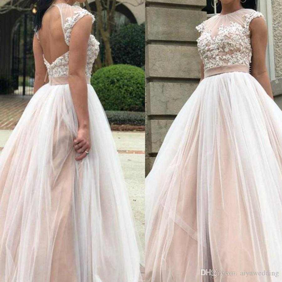d59e90c846ab 2019 Romantic Tulle Prom Dresses Jewel Short Sleeves Lace Applique Floor  Length Evening Dresses Prom Gowns Free Fast Shipping Cream Prom Dresses  Dresses ...