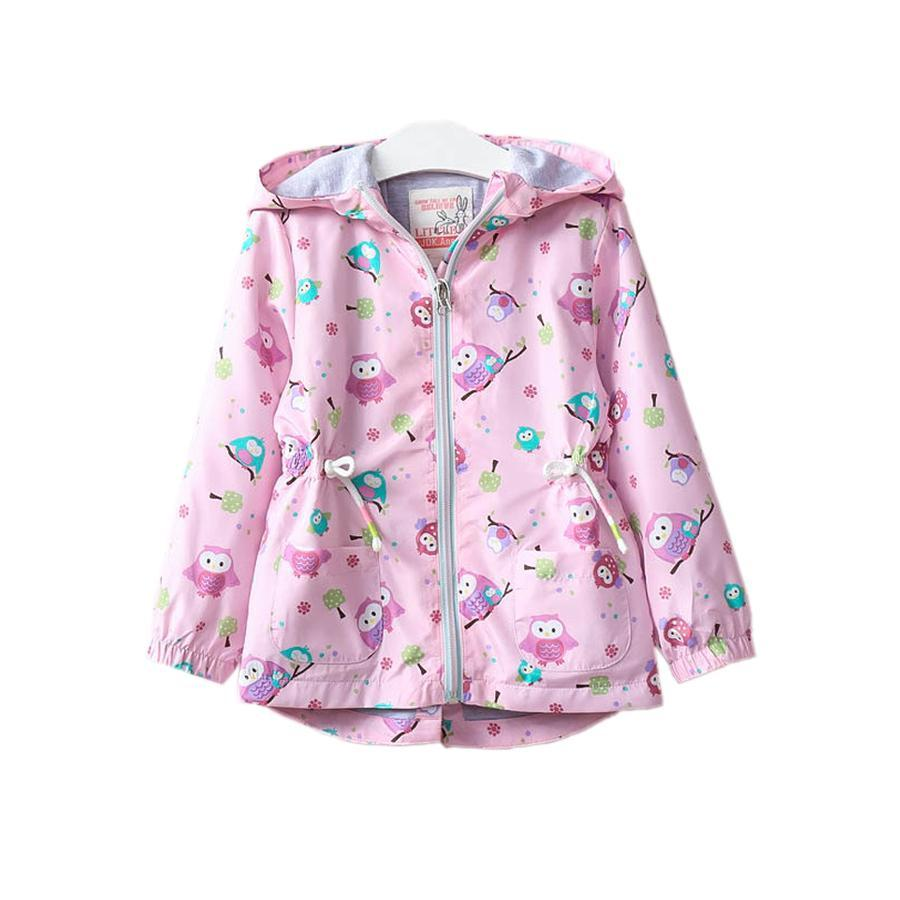 1fba9eae9 Cute Causal Girl Jacket Coat Graffiti Animal Owl Hooded Trench Coat ...