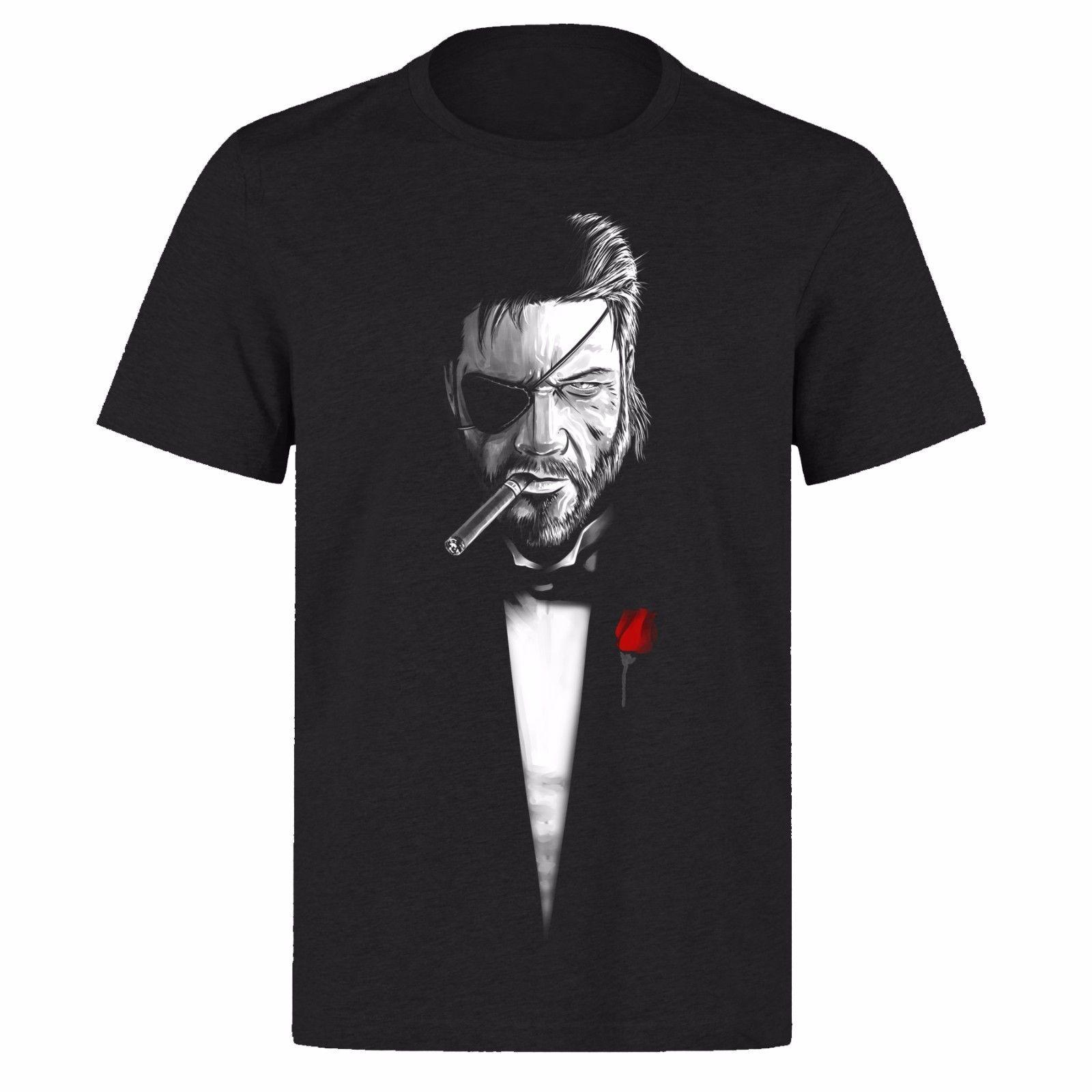 785e6254754bf Compre SOLID SNAKE METAL GEAR SOLID THE GODFATHER UNISEX BLACK PH21 CAMISETA  Camiseta De Verano O Cuello