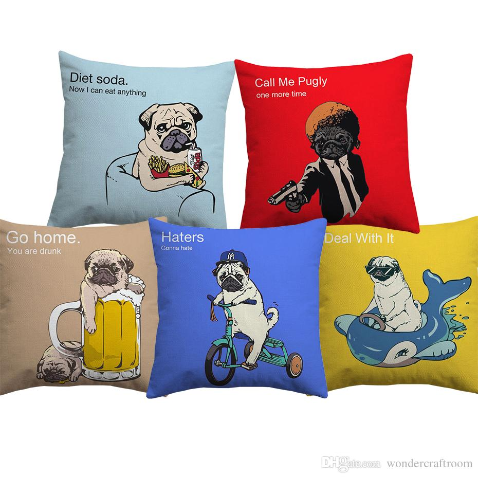 Cartoon Cute Lovely Pug Dog Cushion Covers Hand Painting Dogs Cushion Cover Home Sofa Throw Decorative Linen Cotton Pillow Case