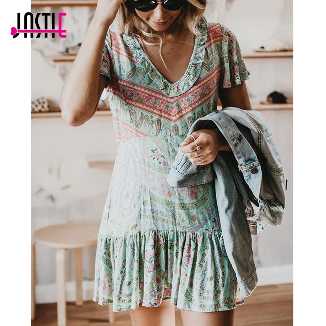 ed407a92b8152 Jastie City Lights Mini Dress Frill V-Neck Short Sleeve Summer Dresses  vintage Print Women Dress Boho Casual Beach Dresses